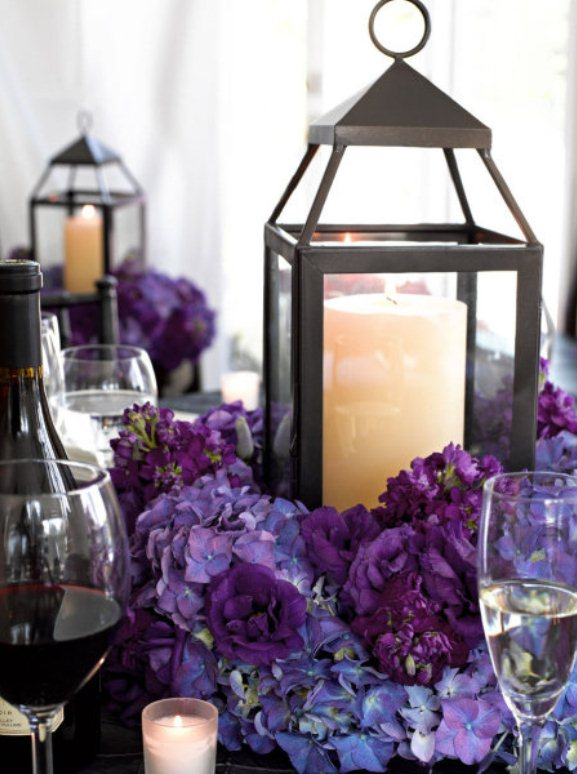 Pin candle lantern centerpiece with flowers on pinterest